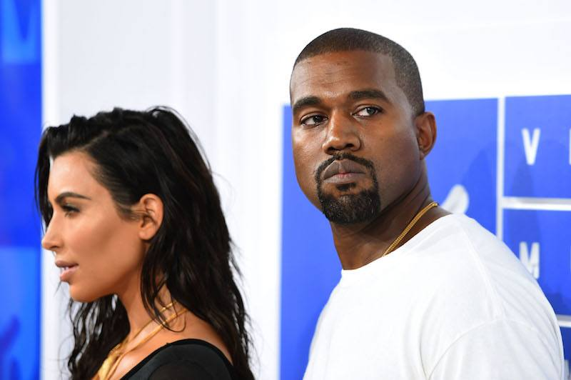 Kim Kardashian West and Kanye West attend the 2016 MTV Video Music Awards