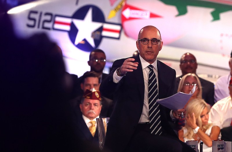Matt Lauer looks on during the NBC News Commander-in-Chief Forum with democratic presidential nominee former Secretary of State Hillary Clinton on September 7, 201