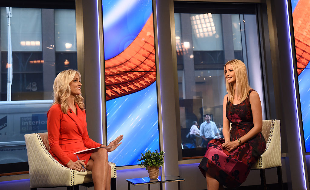 Ainsley Earhardt and Ivanka Trump speak during a Fox & Friends segment
