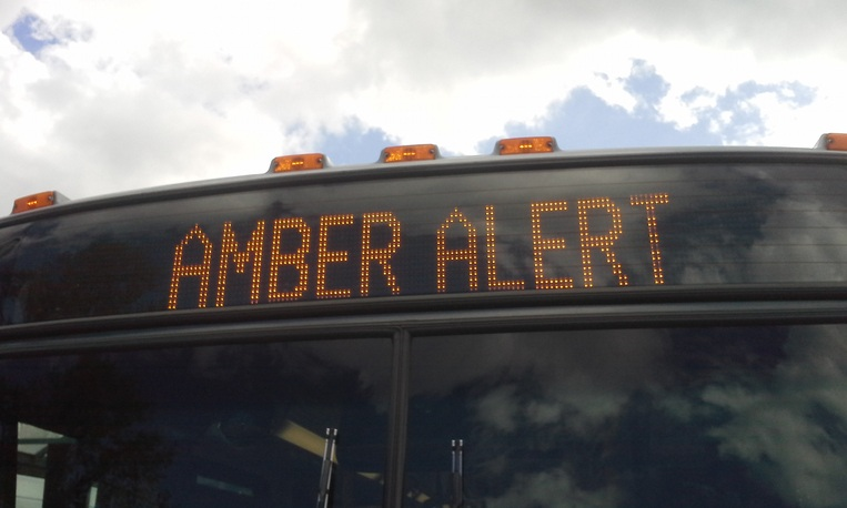 Amber Alert displayed on a bus
