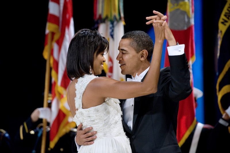 US President Barack Obama and First Lady Michelle Obama dance
