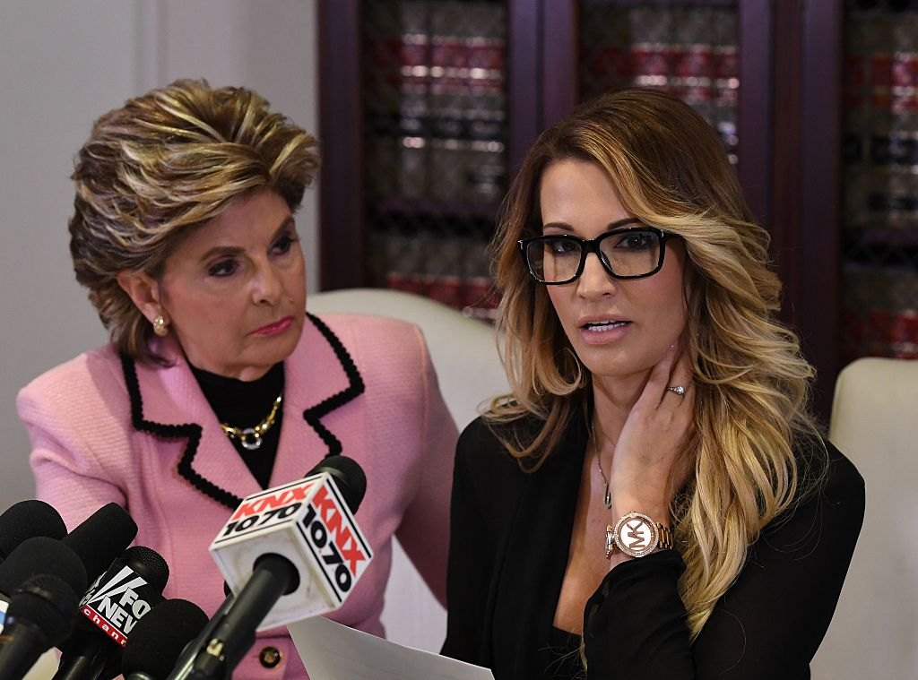 Jessica Drake (R), speaks beside attorney Gloria Allred (L) about allegations of sexual misconduct against Trump