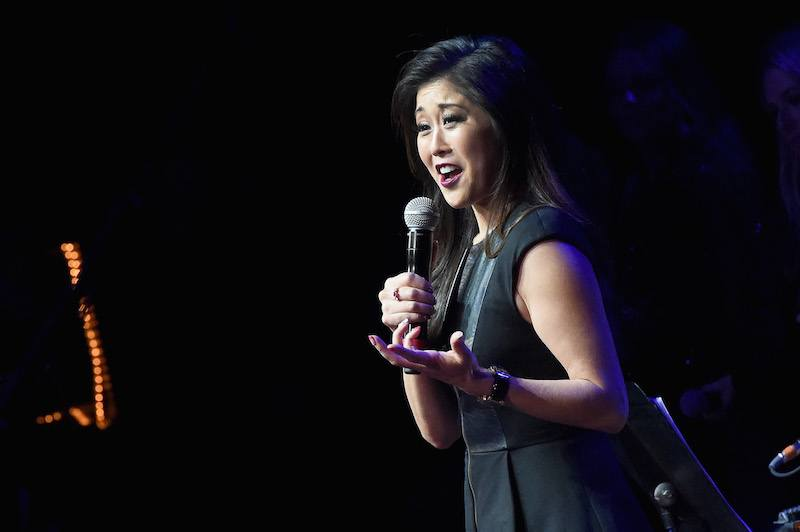 Kristi Yamaguchi speaks during an Evening with Scott Hamilton and Friends to Benefit Scott Hamilton Cares Foundation at Bridgestone Arena on November 20, 2016