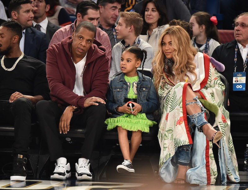 Jay Z, Blue Ivy Carter and Beyonce Knowles attend the 66th NBA All-Star Game at Smoothie King Center