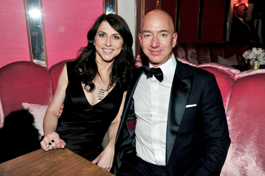 Jeff and MacKenzie Bezos attend the Amazon Studios Oscar Celebration