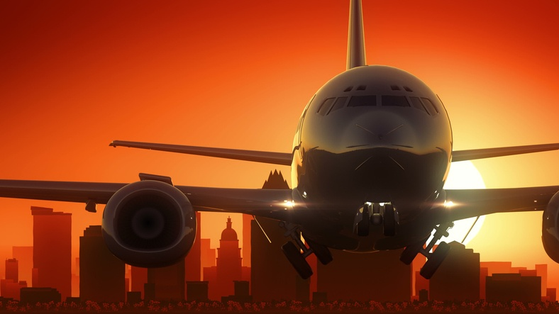 plane in sunrise at Austin airport