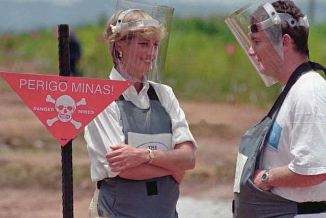 Princess Diana visiting the mine fields in Angola.