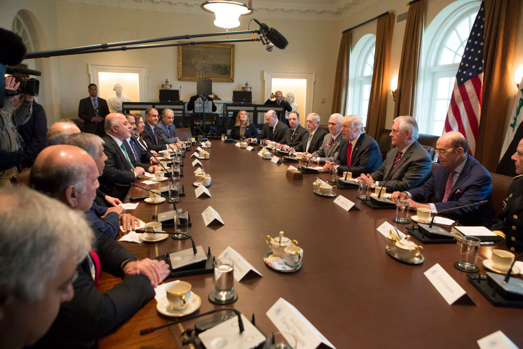 Trump with members of his Cabinet and Iraqi Prime Minister Haider al-Abadi at the White House
