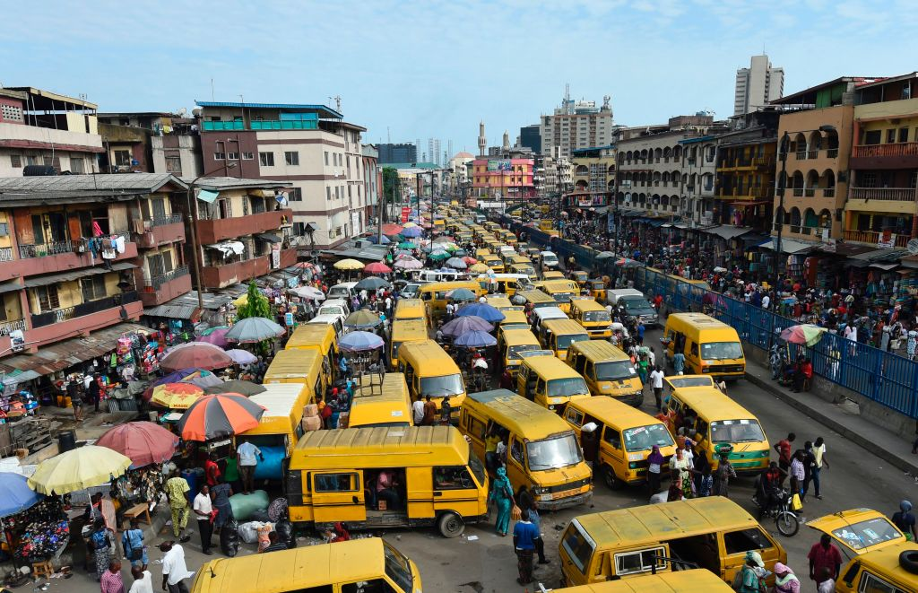 a gridlock of yellow buses in Lagos, Nigeria