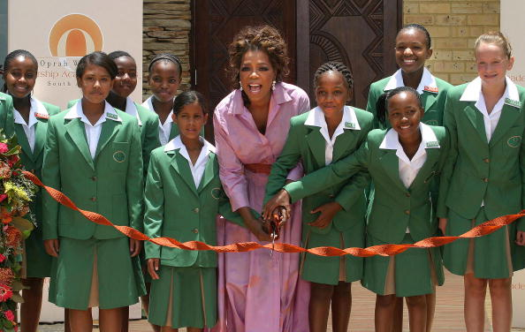 Oprah opens a multi-million dollar school for poor South African girls she has funded in Johanesbourg