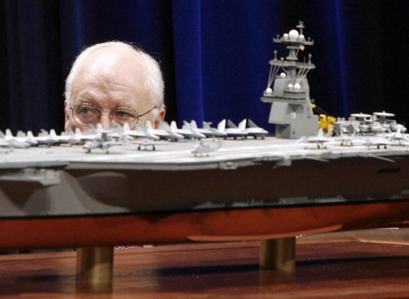 US Vice President Dick Cheney looks at a scale model of the new US Navy aircraft carrier, the USS Gerald R. Ford during a naming ceremony at the Pentagon in Washington, 16 January 2007.