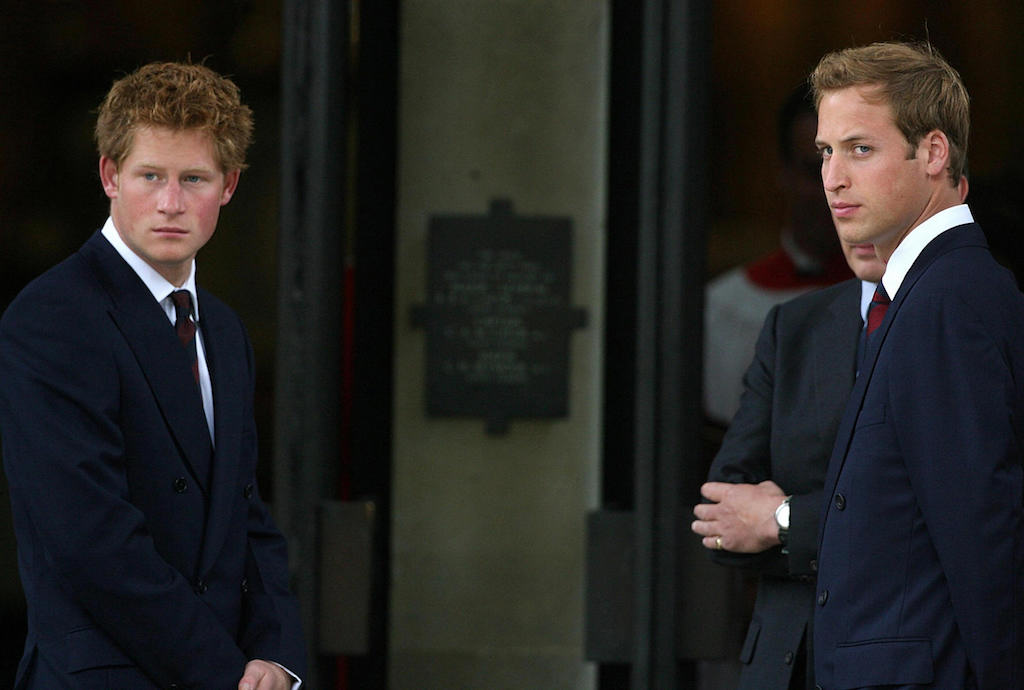 Britain's Prince Harry and Prince William wait to greet guests at the Service of Thanksgiving for the life of Diana, Princess of Wales, at the Guards' Chapel, in London, 31 August 2007.