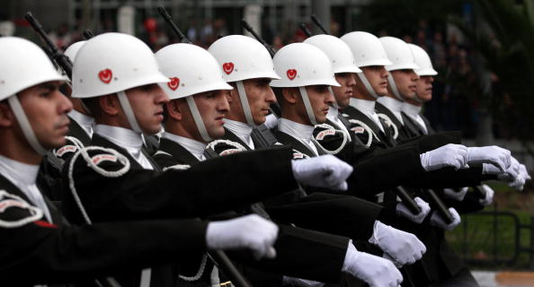 Turkish Army soldiers march during a military parade for the celebrations of the Republic Day in Istanbul.