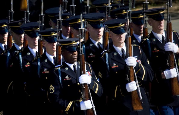 Soldiers march to the Tomb of the Unknown Soldier in Arlington National Cemetery. Militaries.