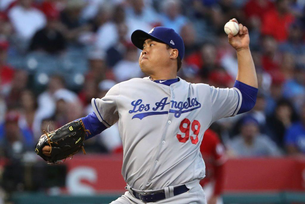 Pitcher Hyun-Jin Ryu of the Los Angeles Dodgers pitches in the second inning.