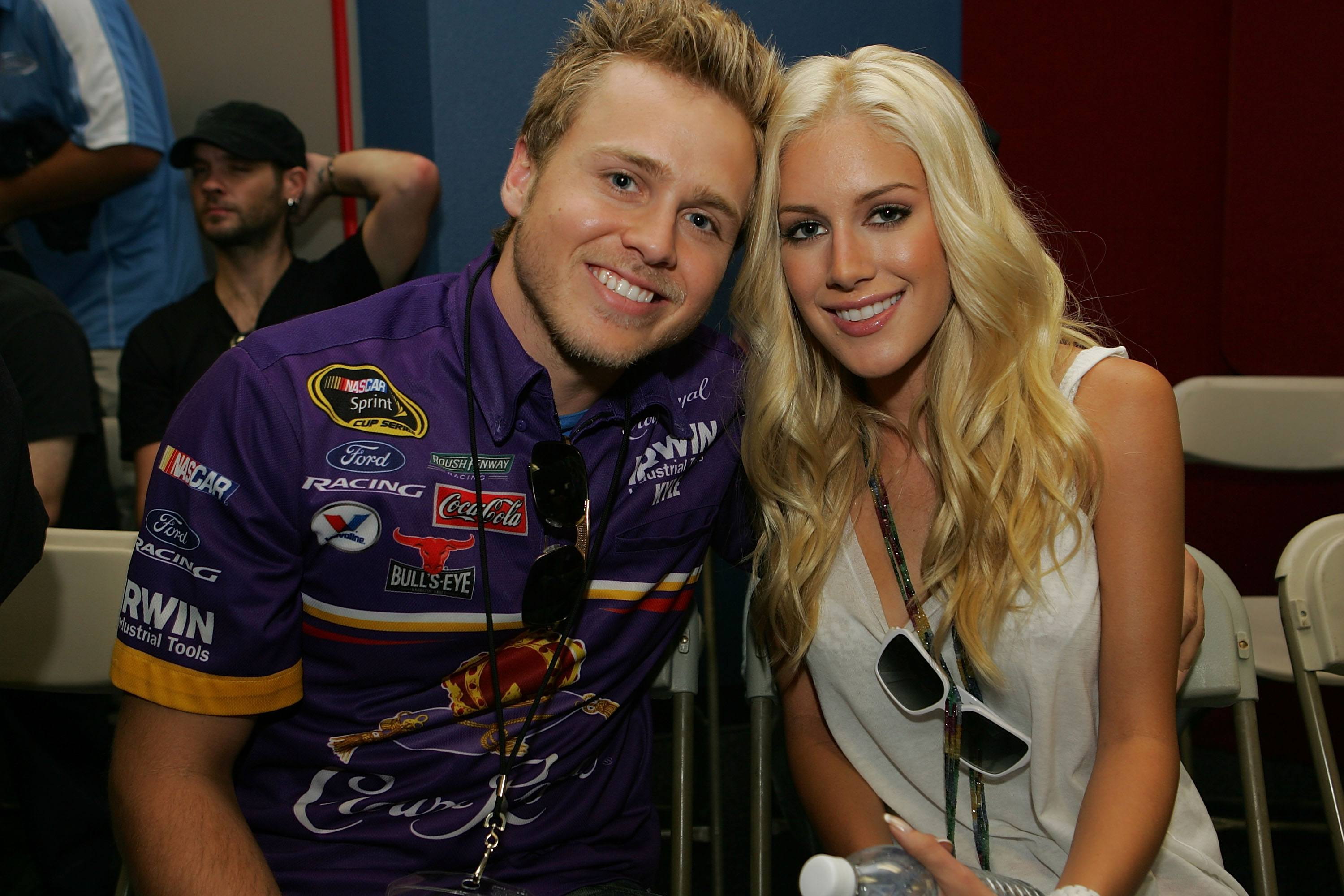 Spencer Pratt and Heidi Montag during the NASCAR Sprint Cup Series Pepsi 500 at Auto Club Speedway on August 31, 2008 in Fontana, California.