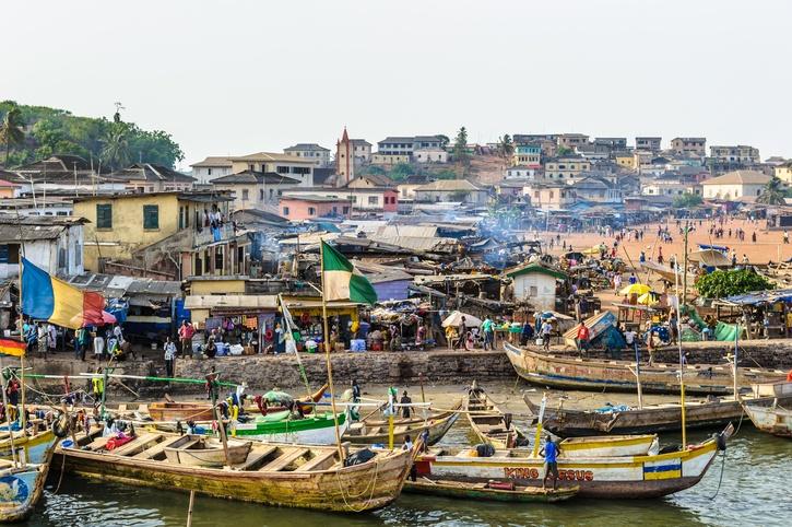 Port full of people in Ghana, Africa