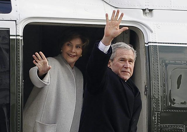 The Bushes depart the White House in 2009.