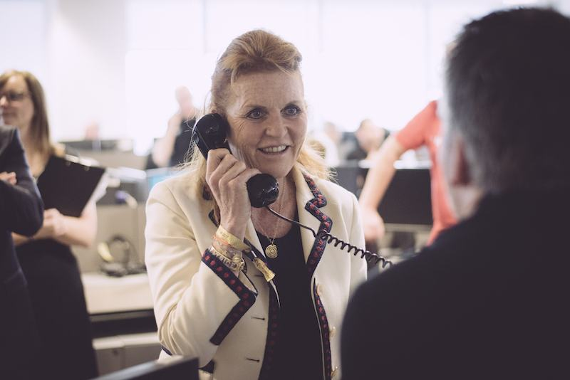 Sarah Ferguson, Duchess of York, representing Children In Crisis, makes a trade at BGC Charity Day on September 11, 2017 in London