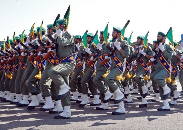 Iranian soldiers march during the annual military parade marking the anniversary of the outbreak of its devastating 1980-1988 war with Saddam Hussein's Iraq.