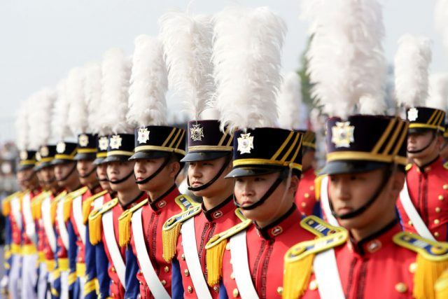 Korean soldiers stand at attention during the 69th South Korea Armed Forces Day