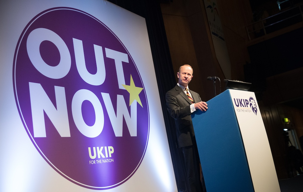 UKIP leader Henry Bolton makes his leader's speech at their autumn conference being held at the Riviera International Centre on September 30, 2017 in Torquay, England.
