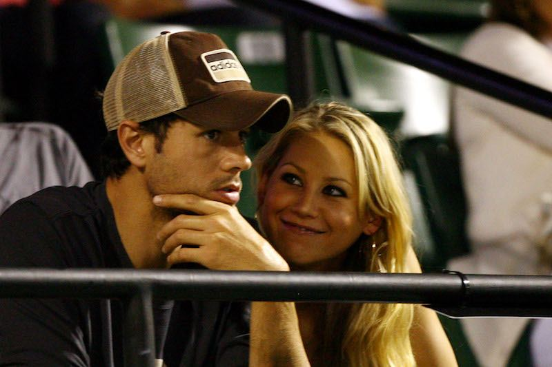 Anna Kournikova and Enrique Iglesias during day eleven of the Sony Ericsson Open at the Crandon Park Tennis Center on April 2, 2009 in Key Biscayne, Florida.
