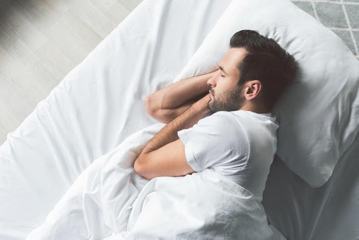 Man asleep on his side