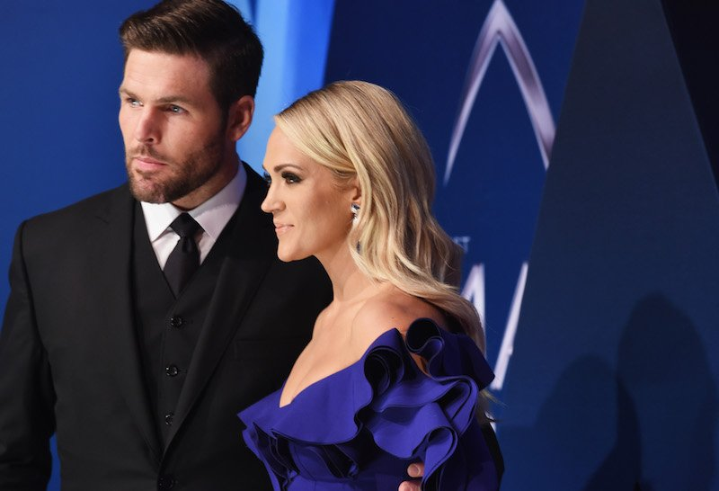 NHL player Mike Fisher and singer-songwriter Carrie Underwood attend the 51st annual CMA Awards