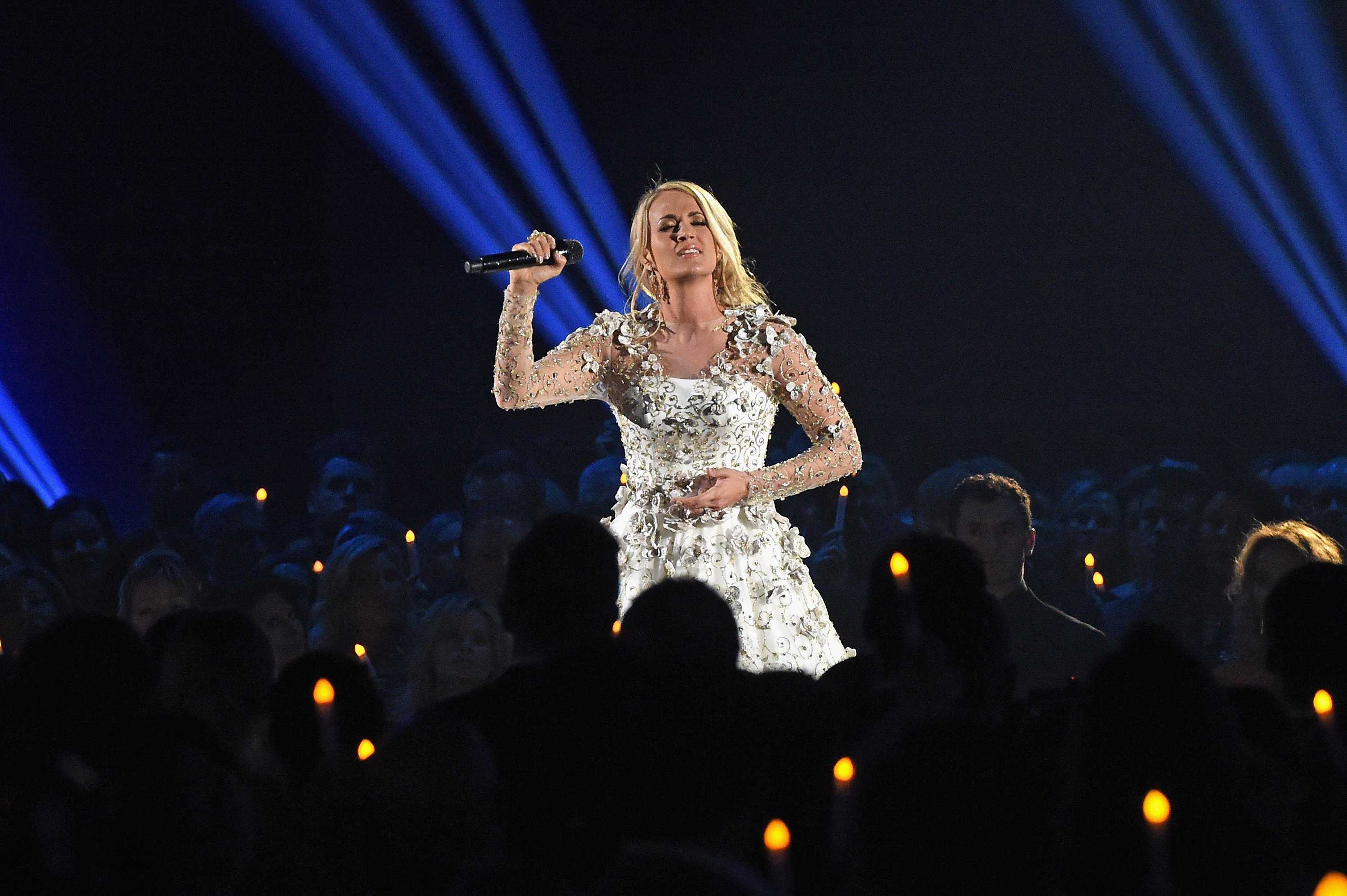 Host Carrie Underwood performs onstage at the 51st annual CMA Awards at the Bridgestone Arena on November 8, 2017 in Nashville, Tennessee