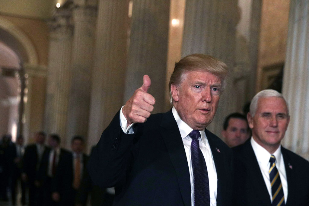 Trump leaves the Capitol after he attended a House Republican Conference meeting