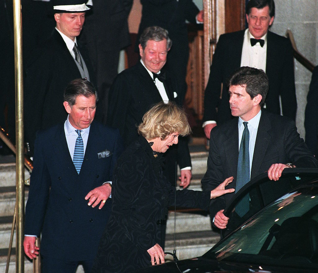 Charles and Camilla getting into a car