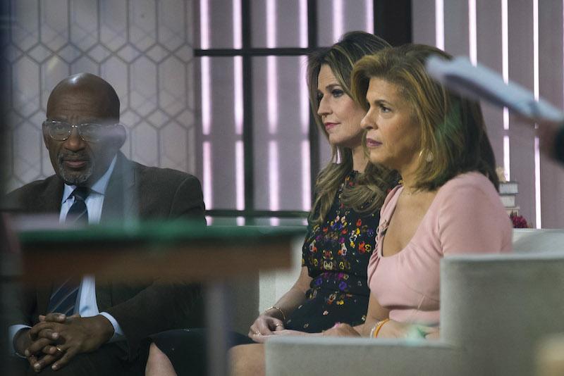 Al Roker, Savannah Guthrie and Hoda Kotb prepare for segment on the set of NBC's Today Show, November 29, 2017 in New York City