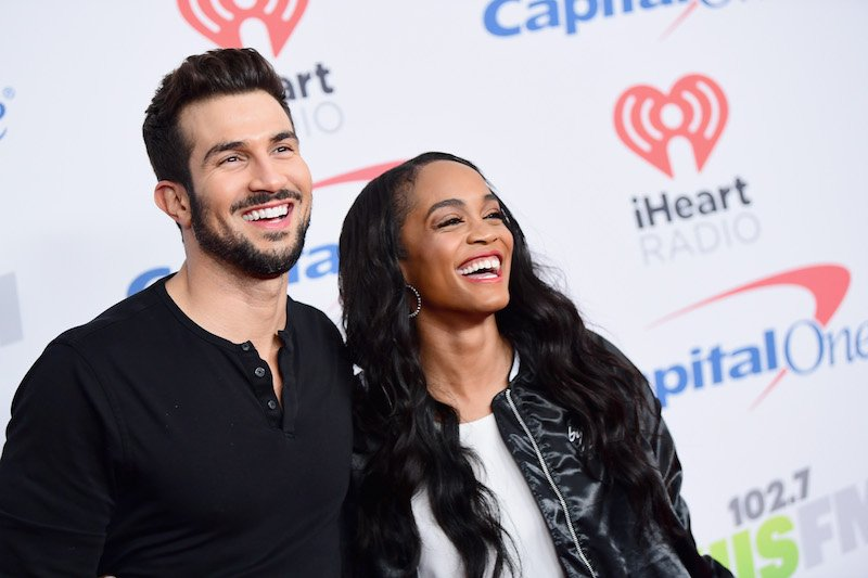 Bryan Abasolo (L) and Rachel Lindsay pose in the press room during 102.7 KIIS FM's Jingle Ball 2017