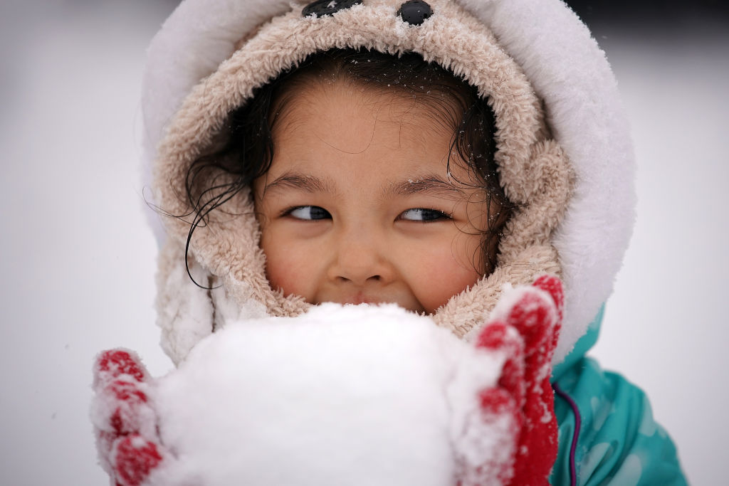 Little girl holding a snowball