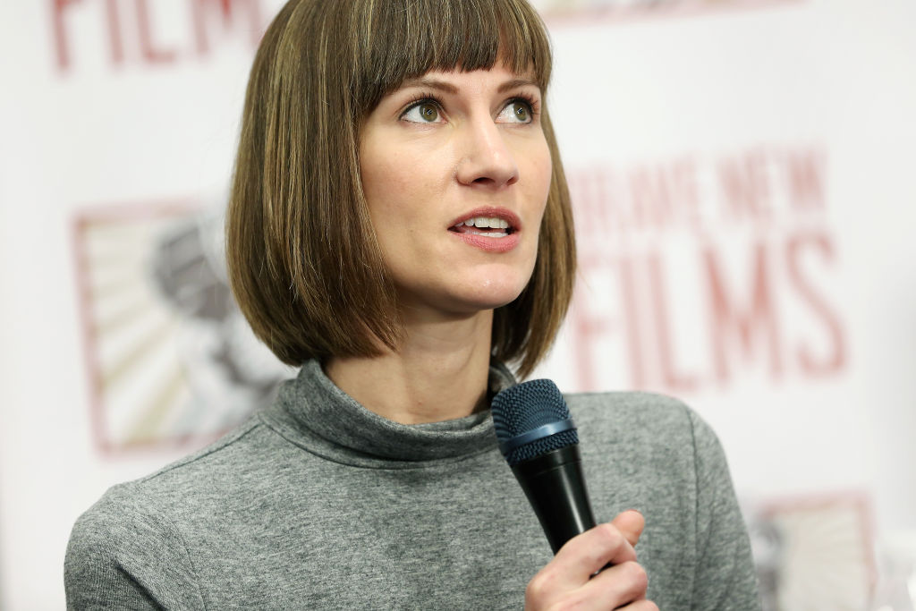 Rachel Crooks speaks during the press conference held by women accusing Trump of sexual harassment