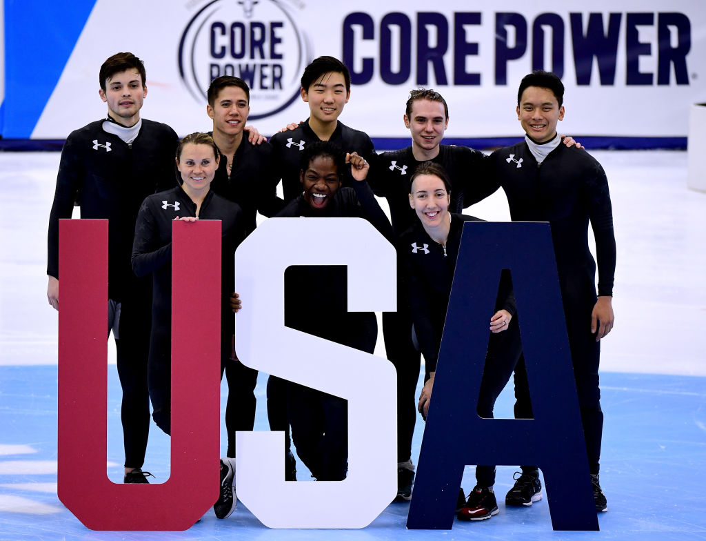 Nominees to the Olympic team; John-Henry Krueger, Jessica Kooreman, J.R. Celski, Maame Biney, Thomas Insuk Hong, Lana Gehring, Ryan Pivirotto and Aaron Tran pose for a photo during the 2018 U.S. Speedskating Short Track Olympic Team Trials at the Utah Olympic Oval on December 17, 2017 in Salt Lake City, Utah.