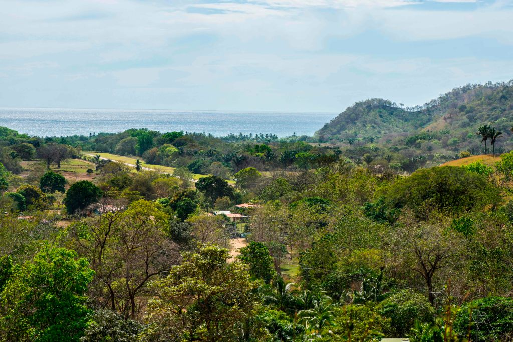 Tthe Islita airport and the mountain where a small plane crashed in Guanacaste, Corozalito, Costa Rica