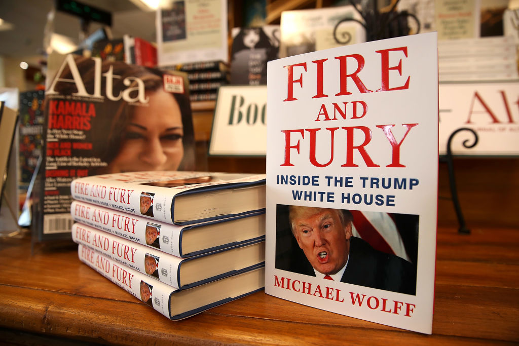 """Copies of the book """"Fire and Fury"""" by author Michael Wolff are displayed on a shelf at Book Passage on January 5, 2018 in Corte Madera, California."""
