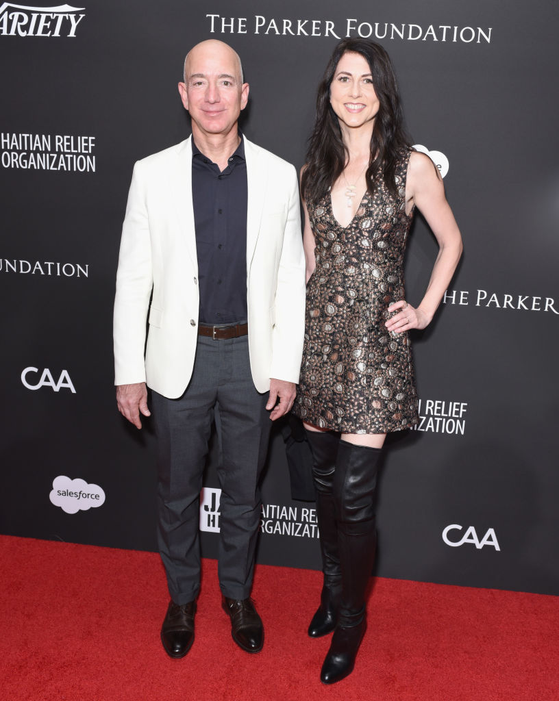 Jeff and MacKenzie Bezos at the Sean Penn & Friends HAITI RISING Gala