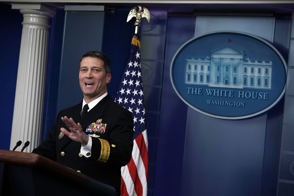 Trump physician Dr. Ronny Jackson speaks during the daily White House press briefing