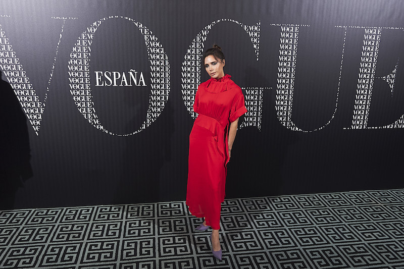 Victoria Beckham attends a dinner in her honor organized by Vogue at the Santo Mauro Hotel on January 18, 2018 in Madrid, Spain.
