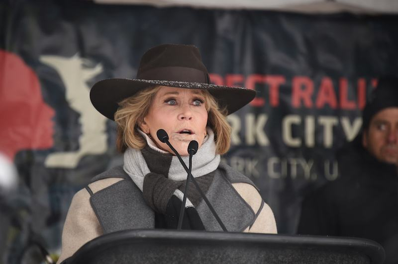 Actor Jane Fonda speaks onstage at the Respect Rally in Park City during the 2018 Sundance Film Festival