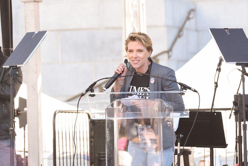 LOS ANGELES, CA - JANUARY 20: Scarlett Johansson attends Women's March Los Angeles 2018 on January 20, 2018 in Los Angeles, California. (Photo by Presley Ann/Getty Images)