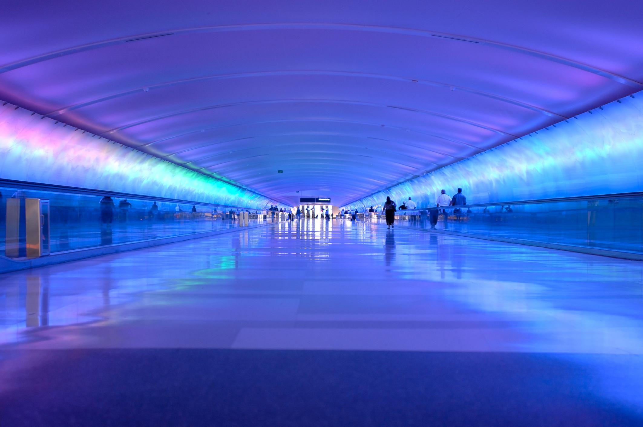 light tunnel at Detroit Metro International Airport