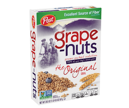 A box of Grape-Nuts cereal in front of a white background.
