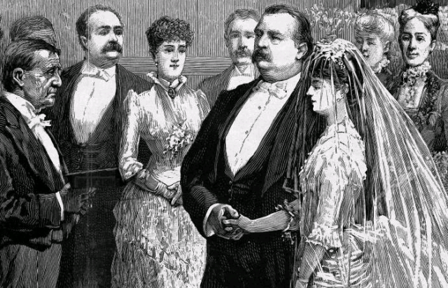 Grover Cleveland and Frances Folsom portrayed on their wedding day.