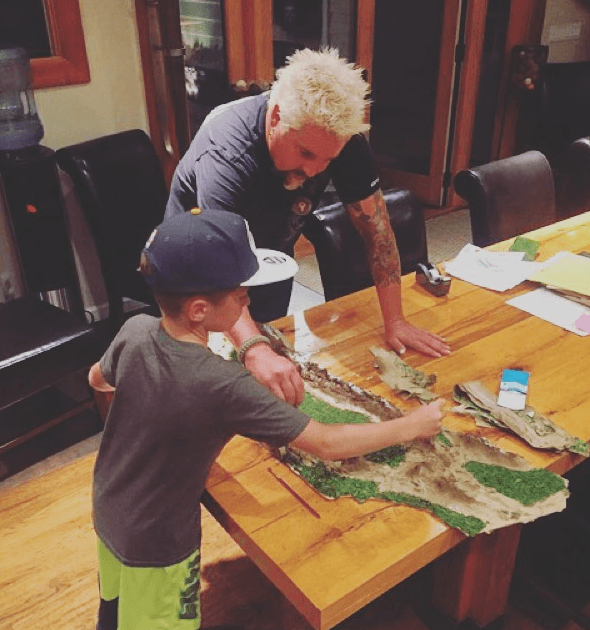 Guy-Fieri and Son in Dining Room