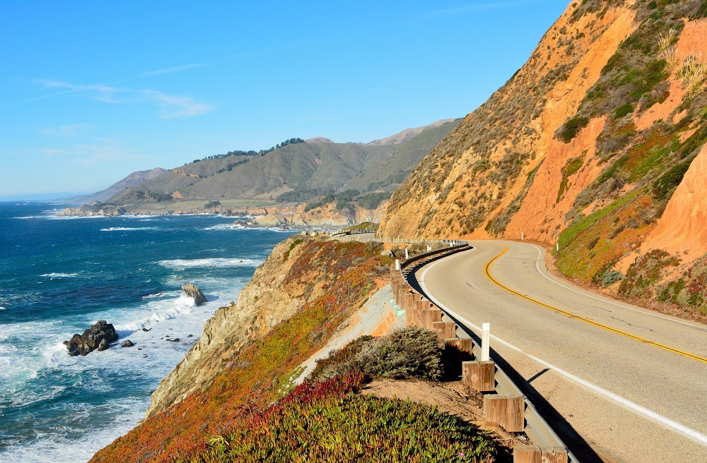 Highway 1 running along Pacific coast