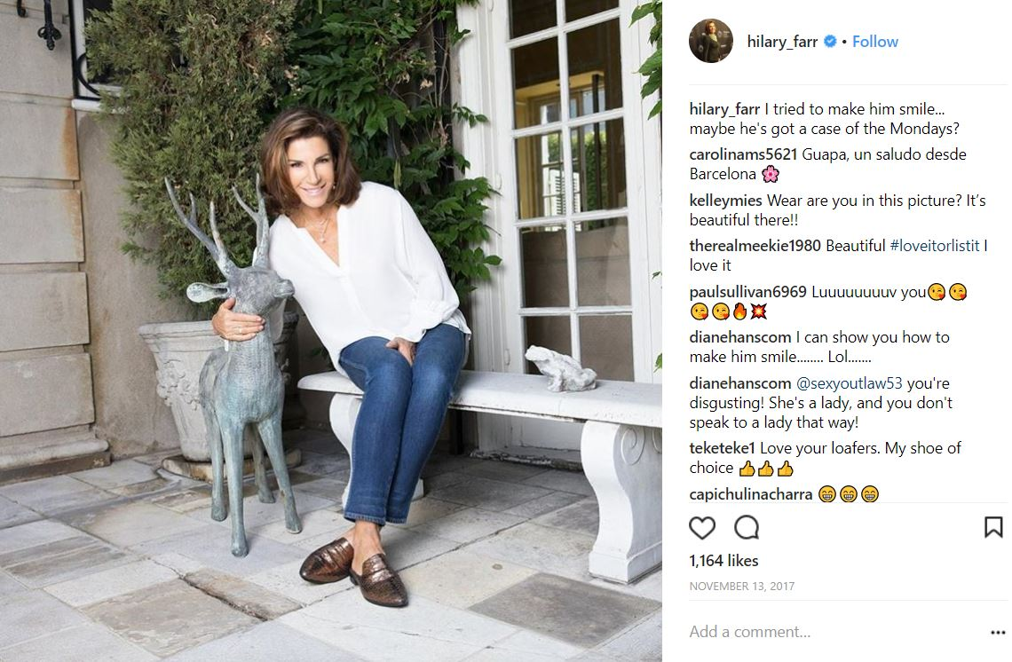Hilary Farr poses on a patio she decorated.